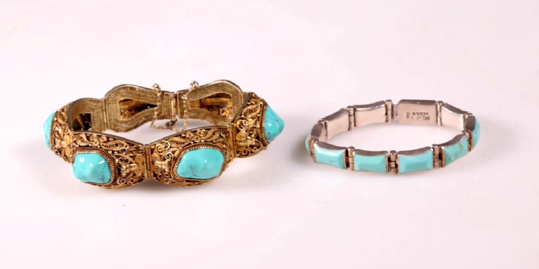 Two Turquoise and Silver Bracelets
