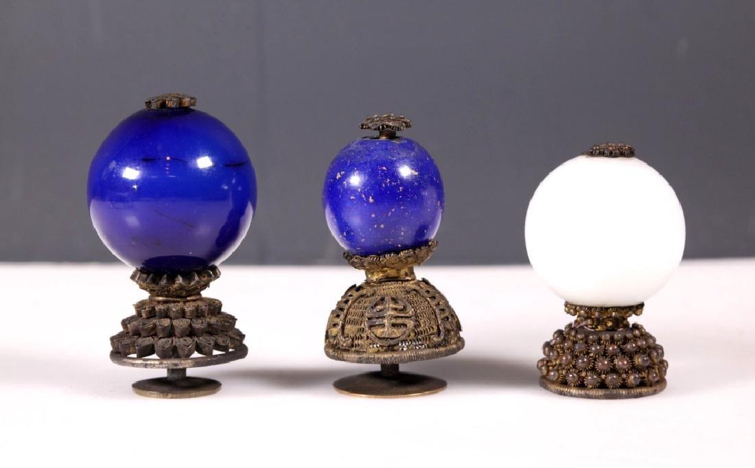 Three Chinese Qing Dynasty Manchu-Rank Hat Balls