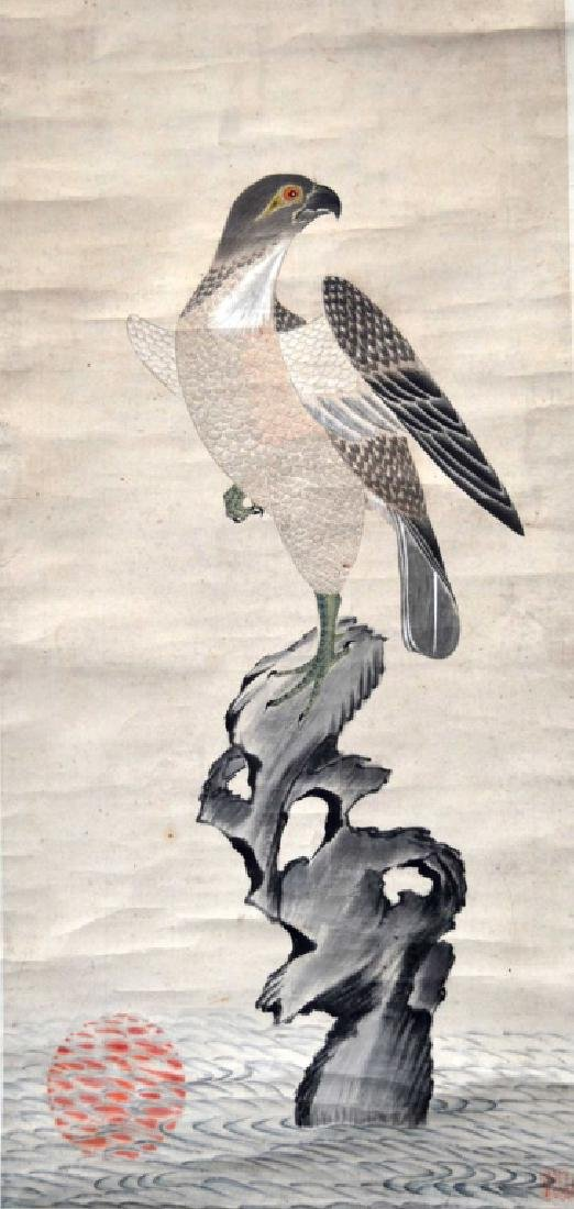 Chinese Ink & Color Painting Hawk on Rock in Sea
