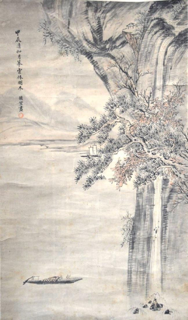 Chinese Ink Painting on Paper: Waterfall & Boats