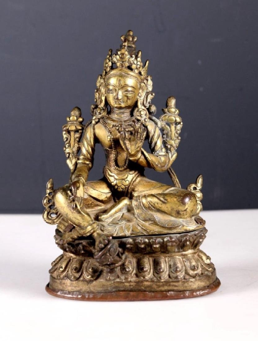 Antique Tibetan Gilt Bronze Seated Tara
