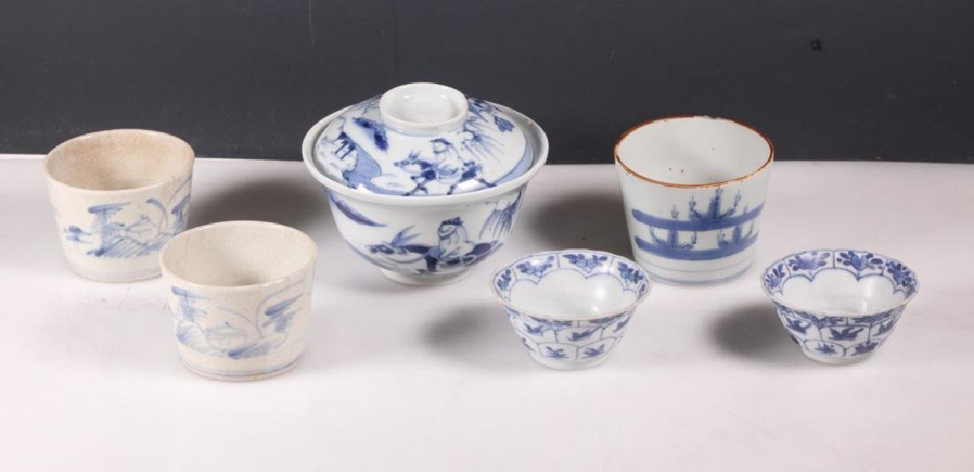 Group 7 Antique Asian Underglaze Blue Porcelains