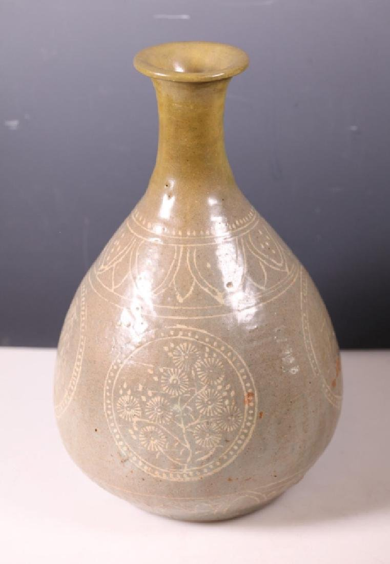 Joseon Korean Celadon Bottle Vase Slip Inlaid