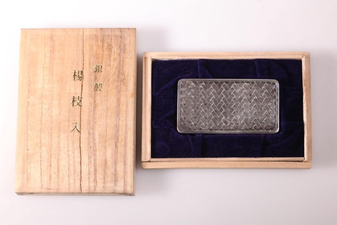 Japanese High Grade Silver Small Box & Cover