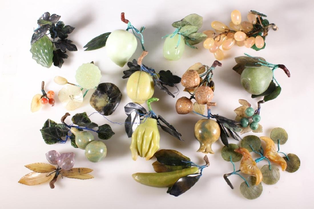 Group of 14 Pieces Carved Stone Fruit