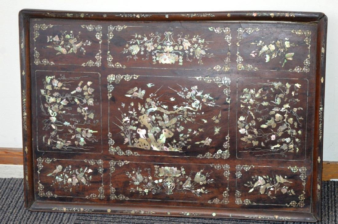 Chinese 19th C Mother-of-Pearl & Hardwood Plaque
