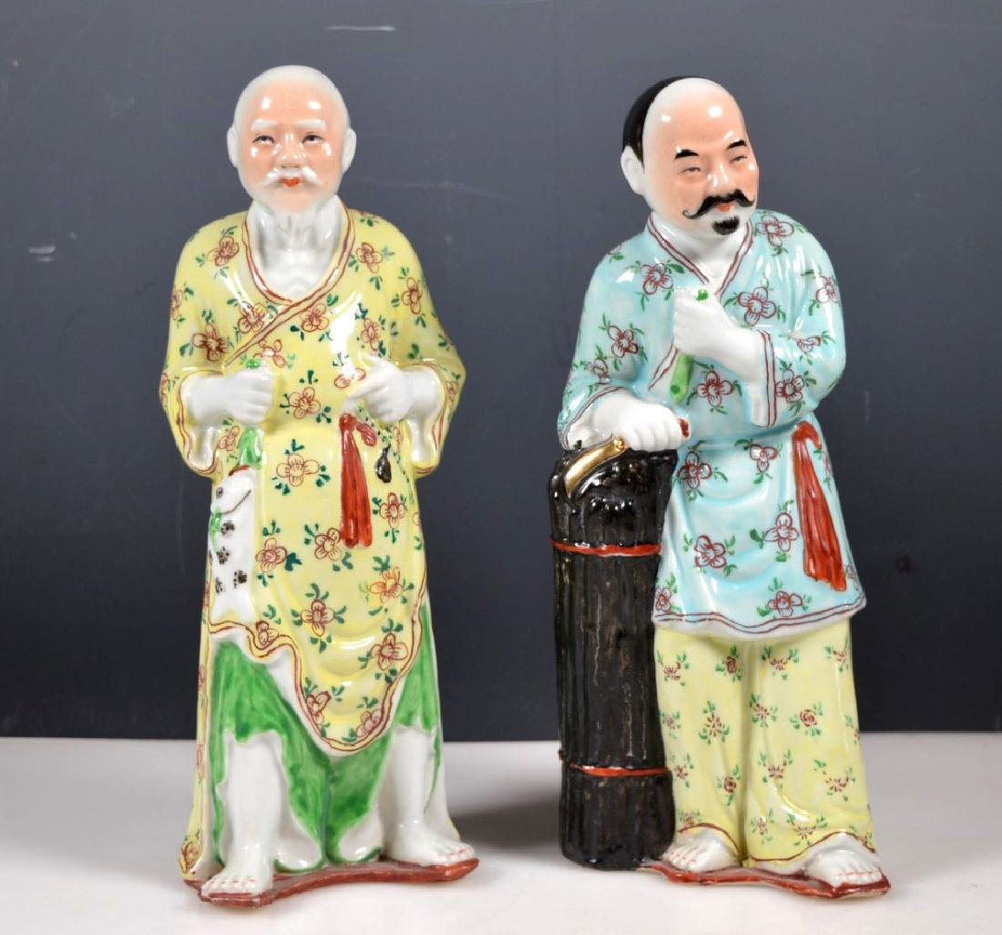 Pair Chinese Enameled Porcelain Figures