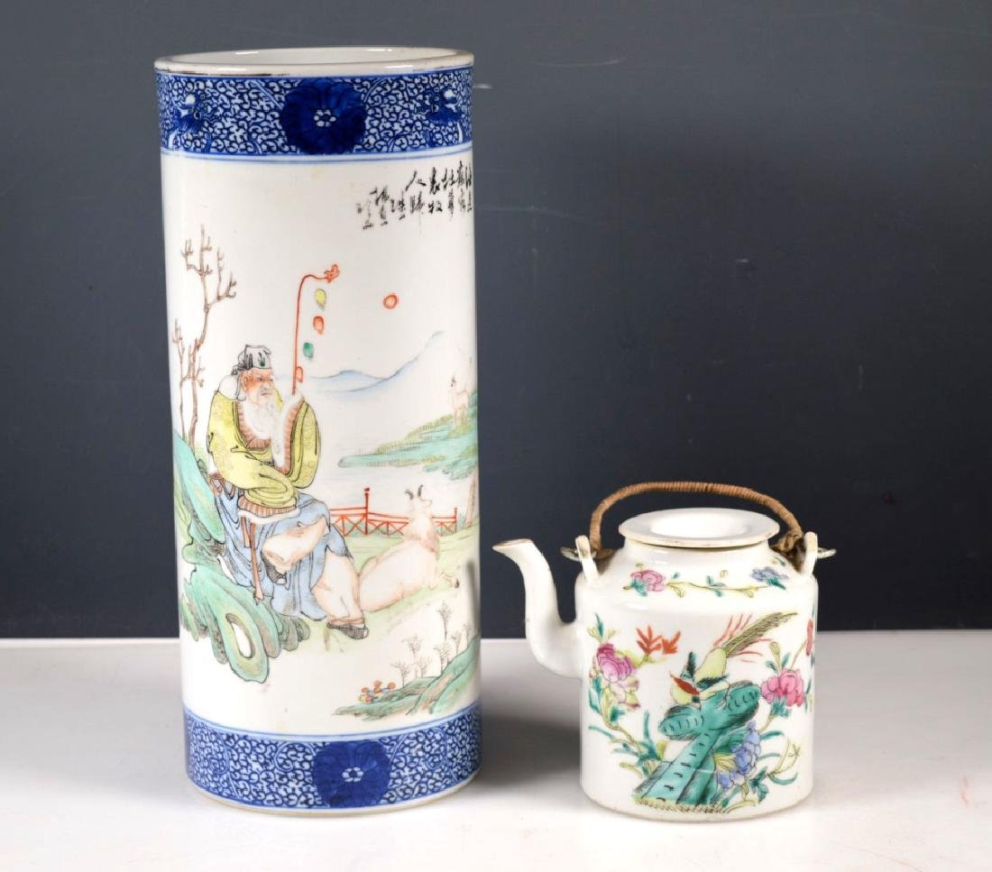 Chinese Porcelain Hat Stand and Porcelain Teapot