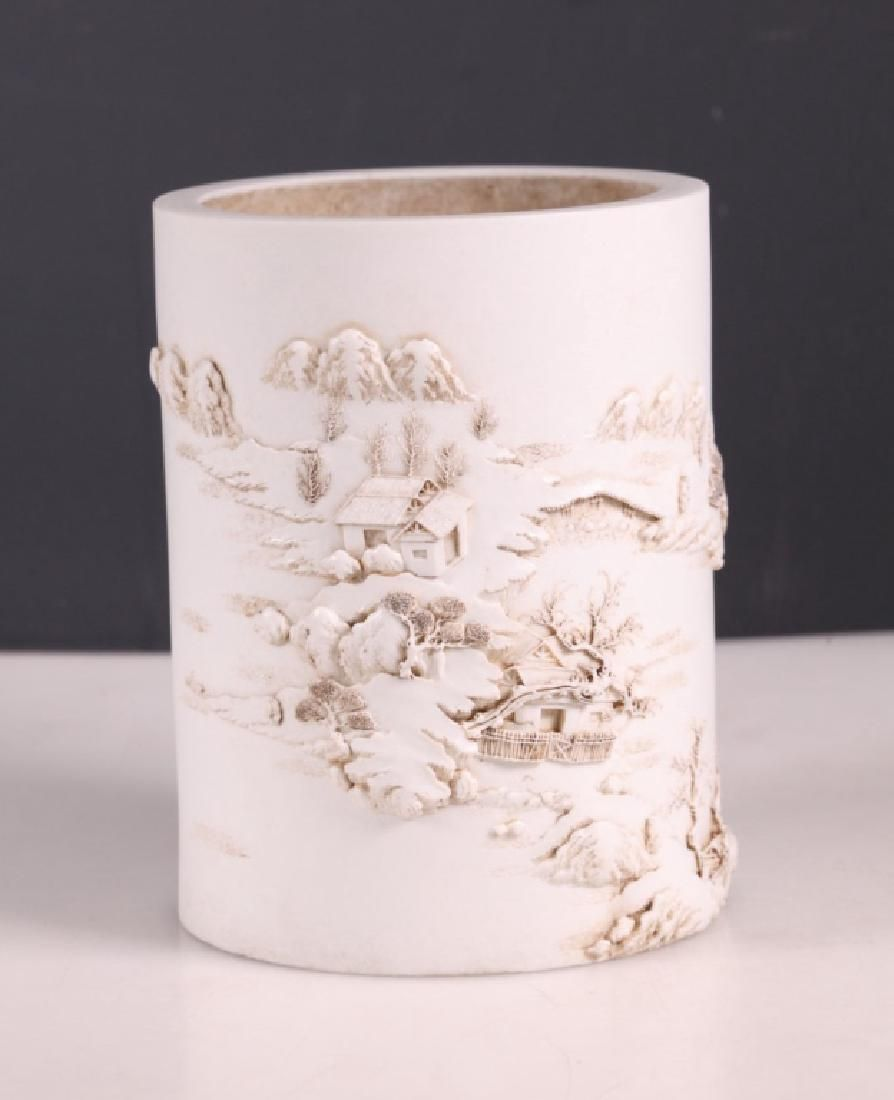 Chinese White Biscuit Porcelain Landscape Brushpot
