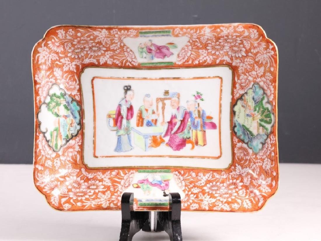 19 C Chinese Enameled Rectangular Porcelain Plate