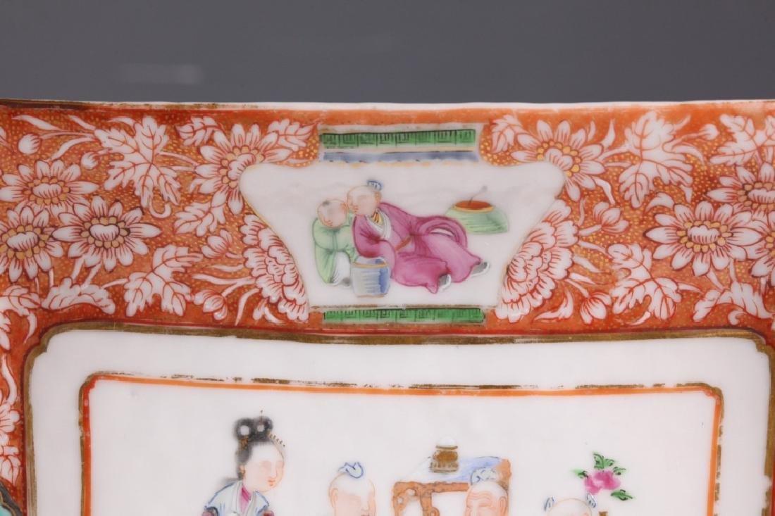 19 C Chinese Enameled Rectangular Porcelain Plate - 2