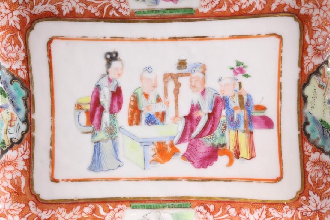 19 C Chinese Enameled Rectangular Porcelain Plate - 3