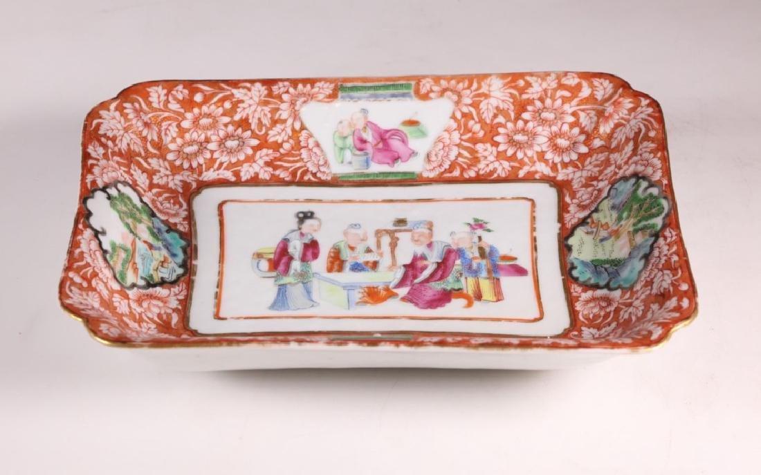 19 C Chinese Enameled Rectangular Porcelain Plate - 5