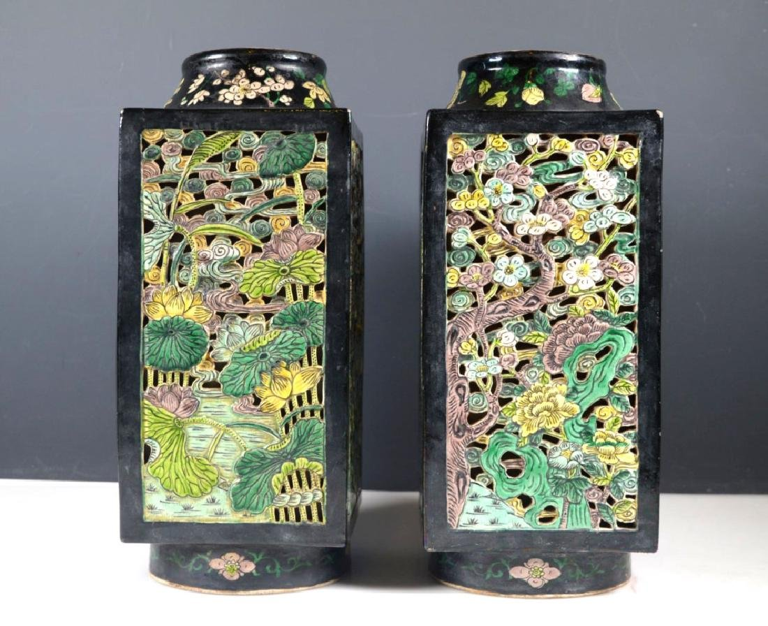"Pr Chinese ""Cong"" Famille Noire Porcelain Vases"