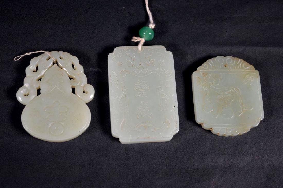 Three Chinese Carved Jade Plaques