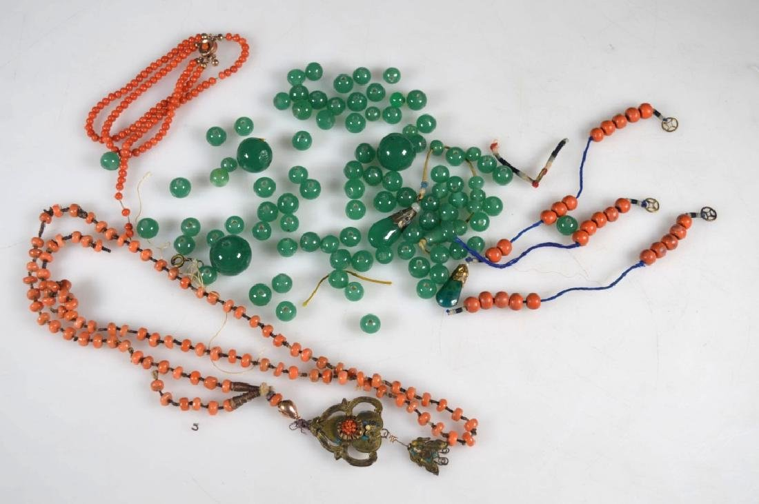 Group of Small Coral Beads; Green Glass Chaozhu