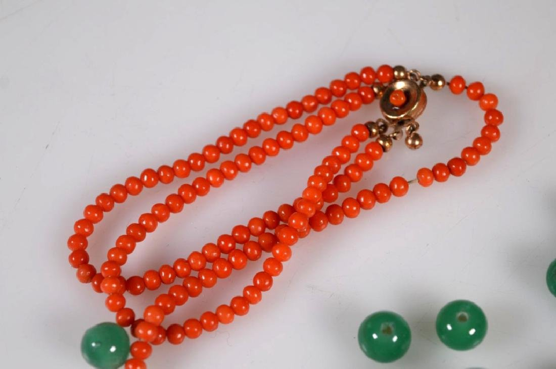 Group of Small Coral Beads; Green Glass Chaozhu - 3
