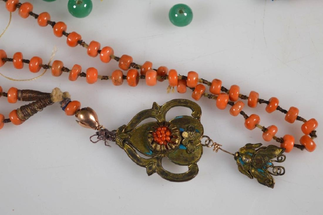 Group of Small Coral Beads; Green Glass Chaozhu - 5