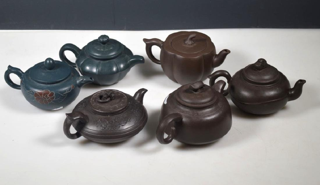 4 Chinese Brown Yixing Teapots; 2 in Blue Clay