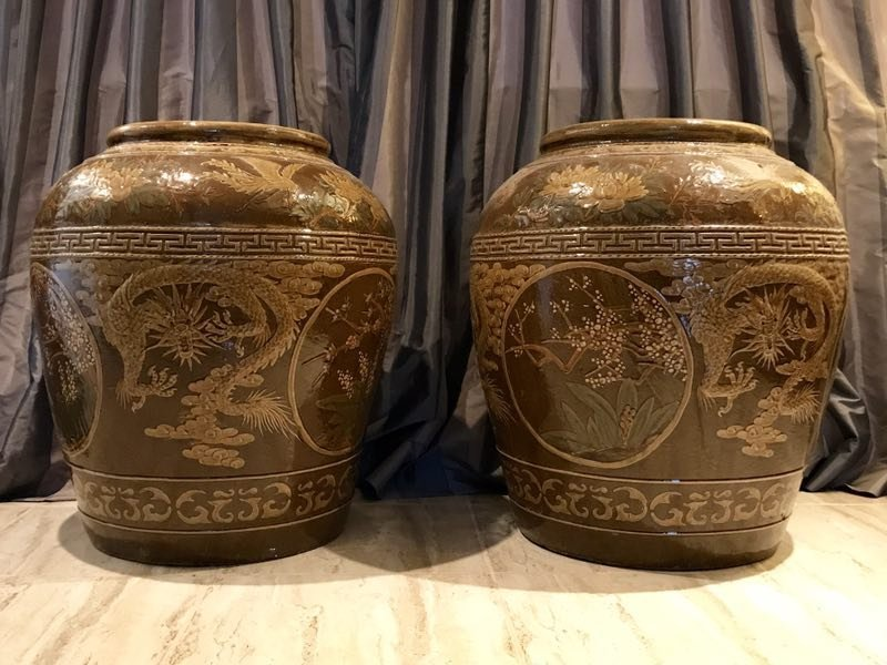 Two Large Chinese Slip Decorated Dragon Ceramic Jars