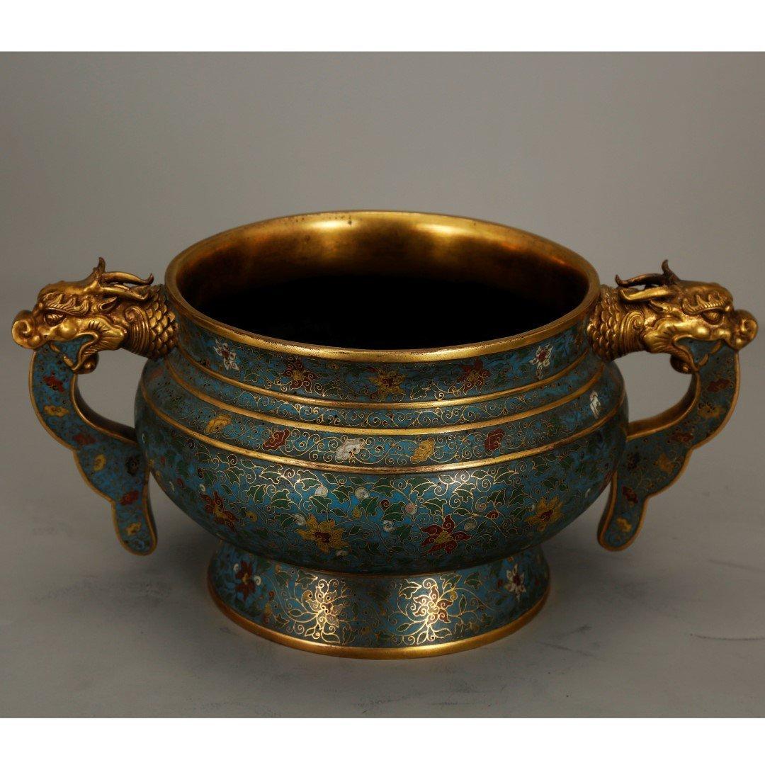 Chinese Gilt Bronze & Cloisonne Censer