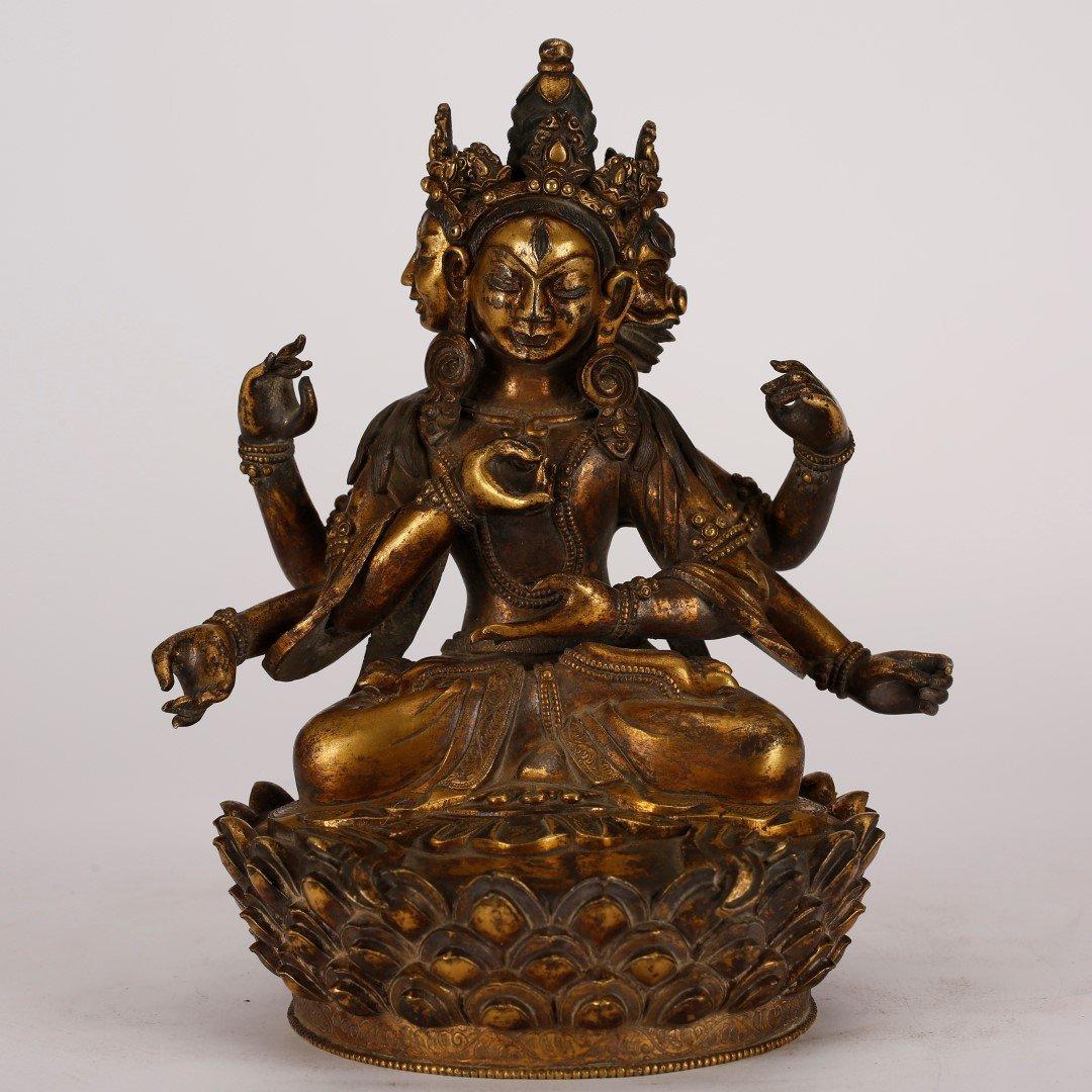Tibetan Qing Gilt Bronze Seated Tara