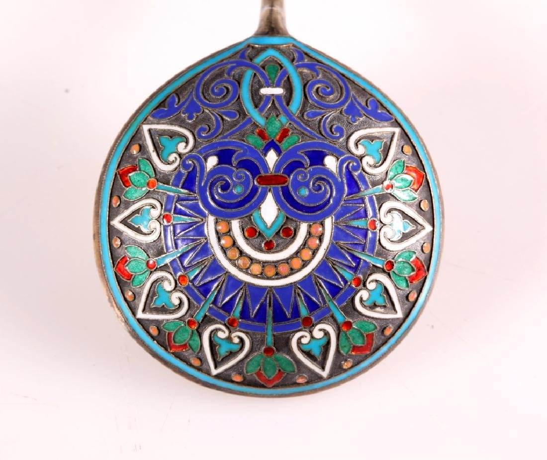 19 C Russian Cloisonne & Champleve Silver Spoon - 3