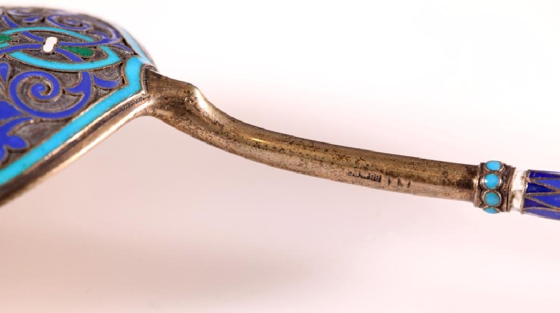 19 C Russian Cloisonne & Champleve Silver Spoon - 5