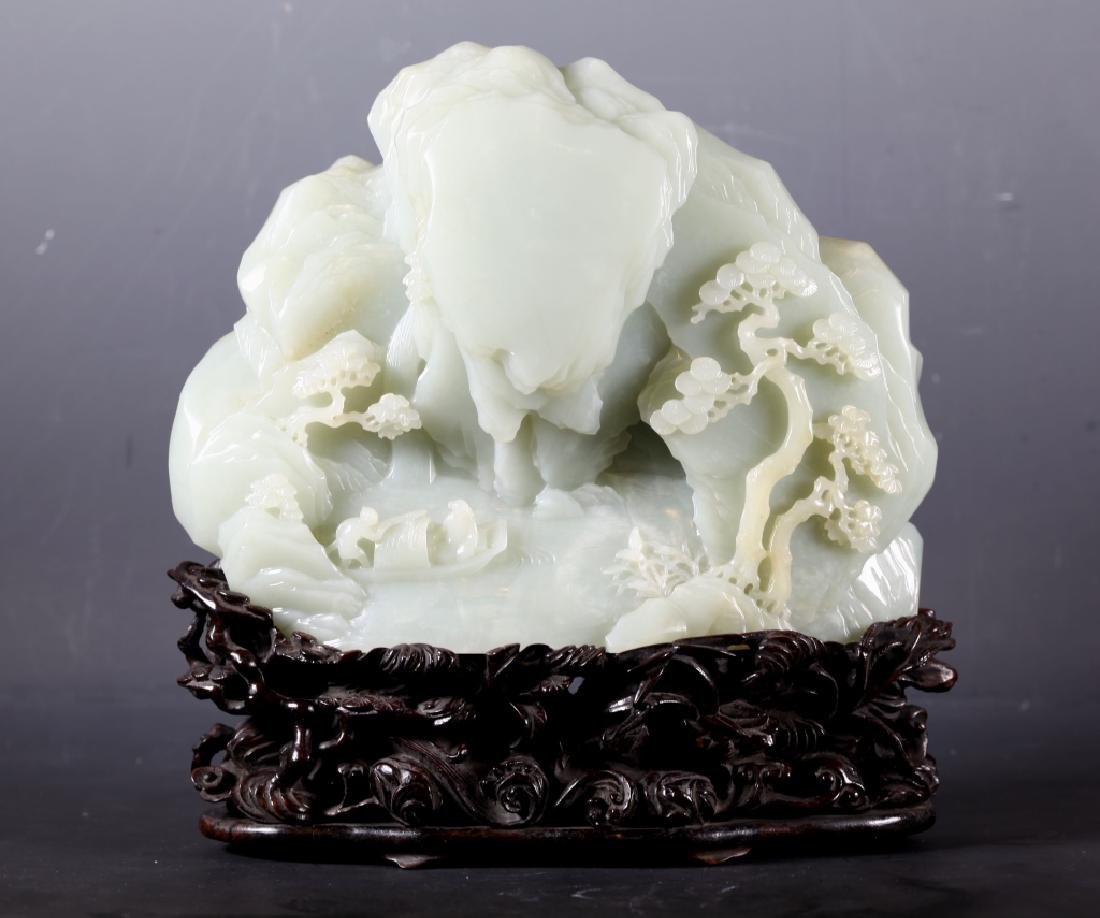 Fine 19C Chinese Carved Pale Celadon Jade Mountain