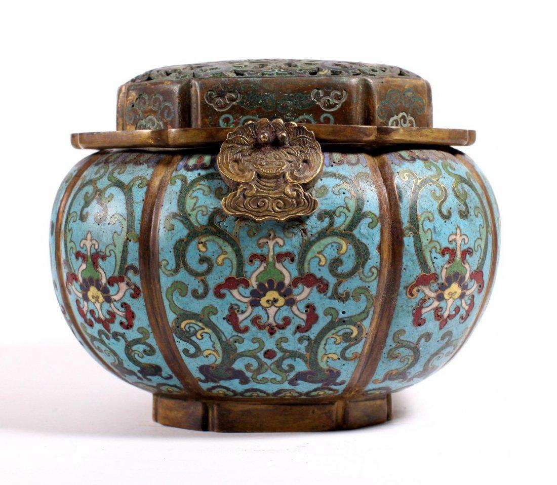 Lg Chinese 18 C Gilt Bronze & Cloisonne Hand Warmer - 4