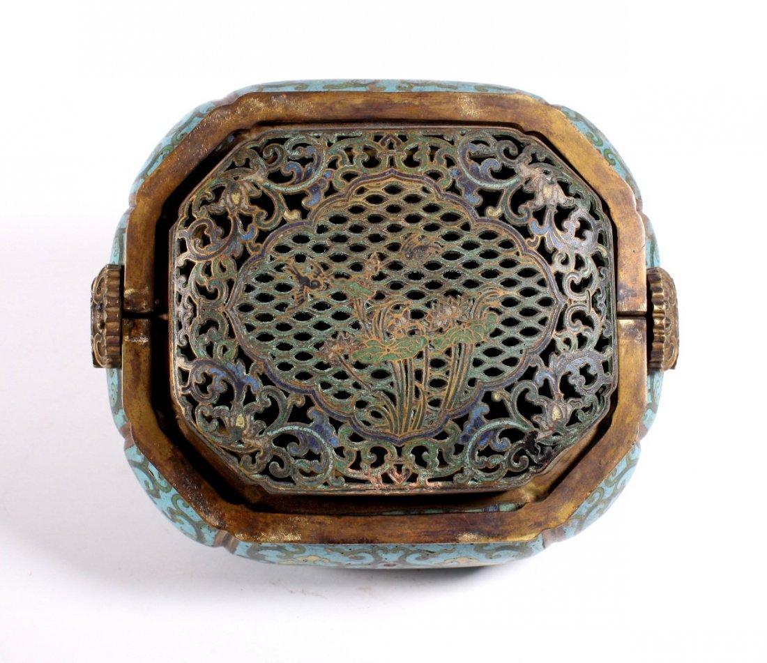 Lg Chinese 18 C Gilt Bronze & Cloisonne Hand Warmer - 5
