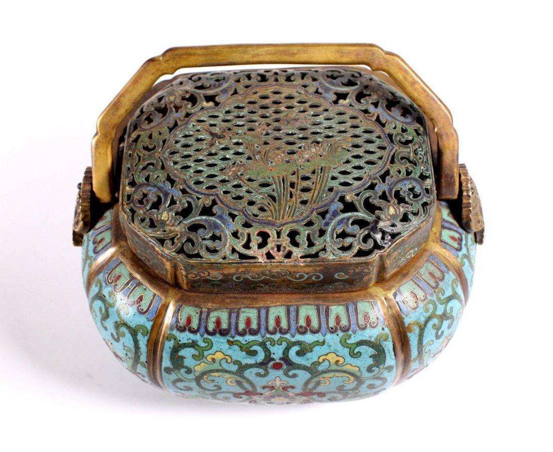 Lg Chinese 18 C Gilt Bronze & Cloisonne Hand Warmer - 8