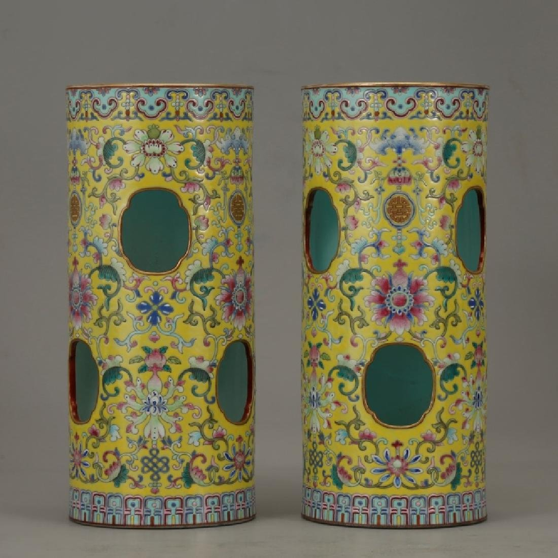 Pr Chinese Yellow Ground Porcelain Hat Stands