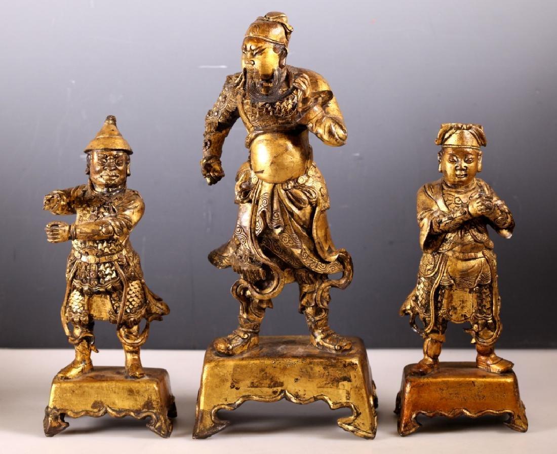 Set Chinese Bronze 17/18 C Guan Gong & Attendants