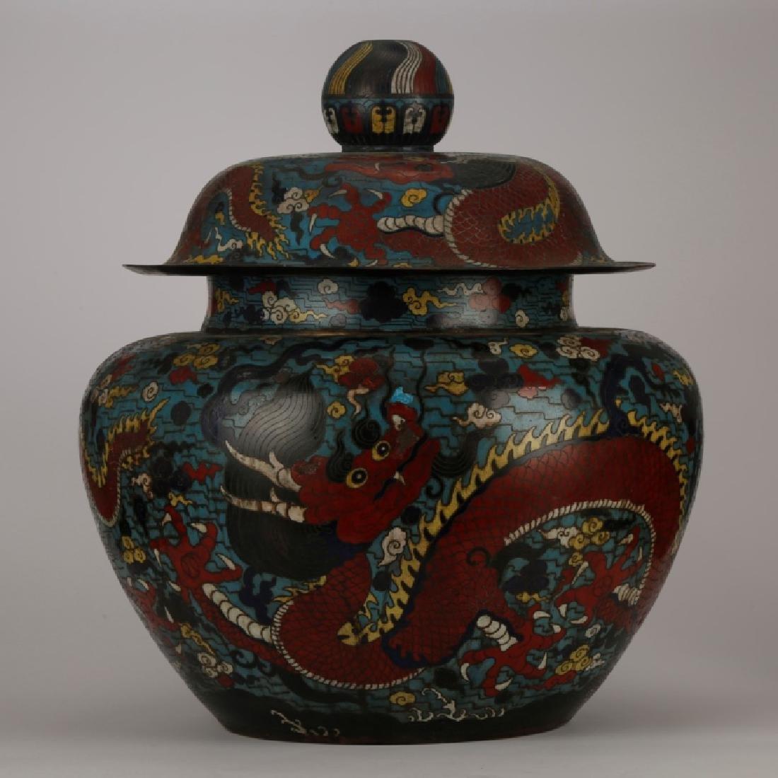 Lg Chinese Qing Cloisonne 5-Claw Dragon Jar