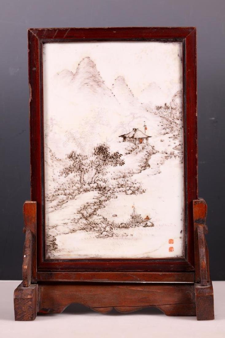 Chinese Artist Painted Landscape on Porcelain