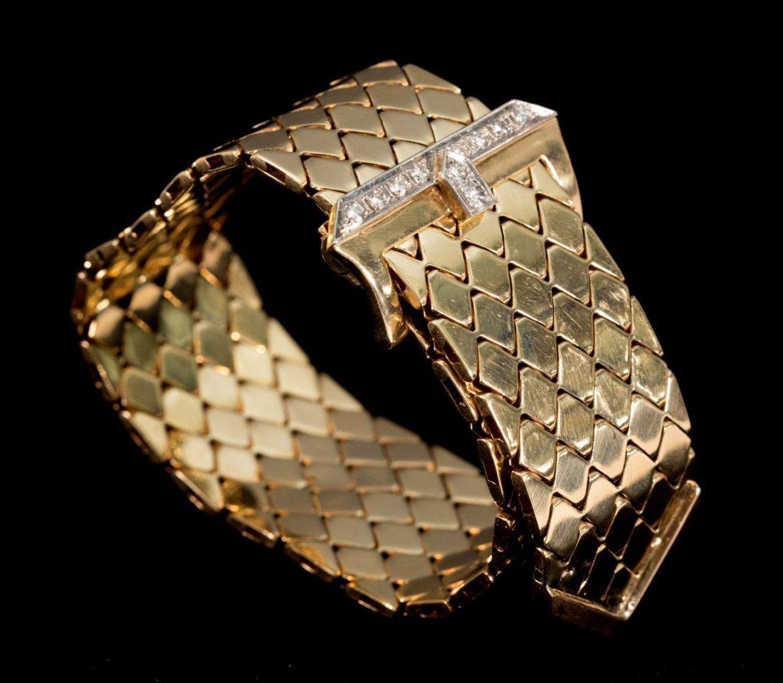 "Vintage 14K Yellow Gold Flexible ""Belt"" Bracelet"