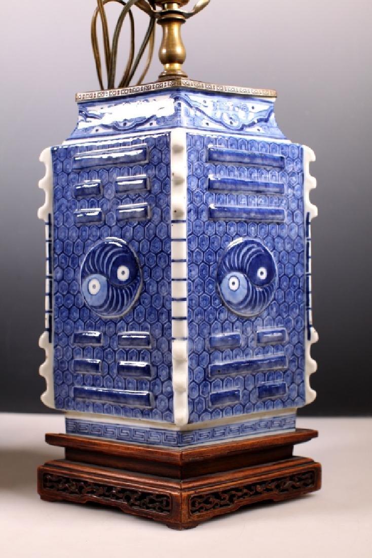 2 Chinese 18/19C B&W Bagua Lozenge Porcelain Vases - 6