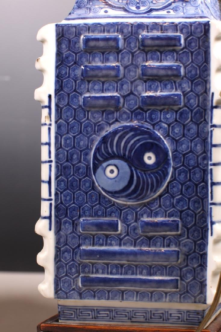 2 Chinese 18/19C B&W Bagua Lozenge Porcelain Vases - 7
