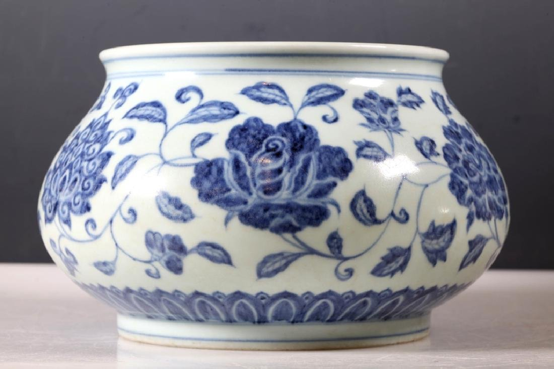 Rare Chinese Ming Dynasty B & W Porcelain Lg Bowl