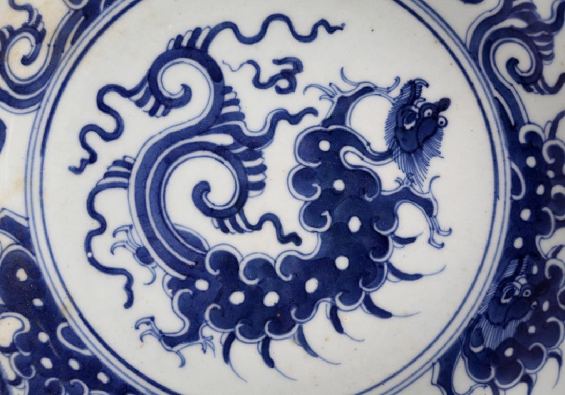 Chinese 19 C B & W Porcelain Cloud Dragon Plate - 3