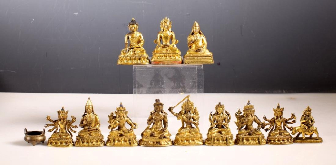 Collection of 12 Gilt Bronze 18 C Buddhas & Censer