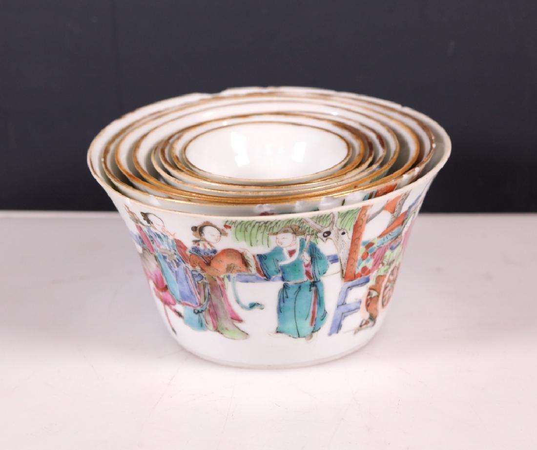 Nesting Set of 8 Chinese Enameled Porcelain Bowls