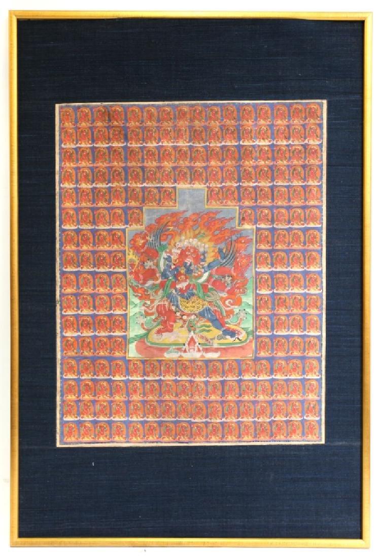 """Tibetan 19 C """"100 Mahakala"""" Thangka on Fabric"""