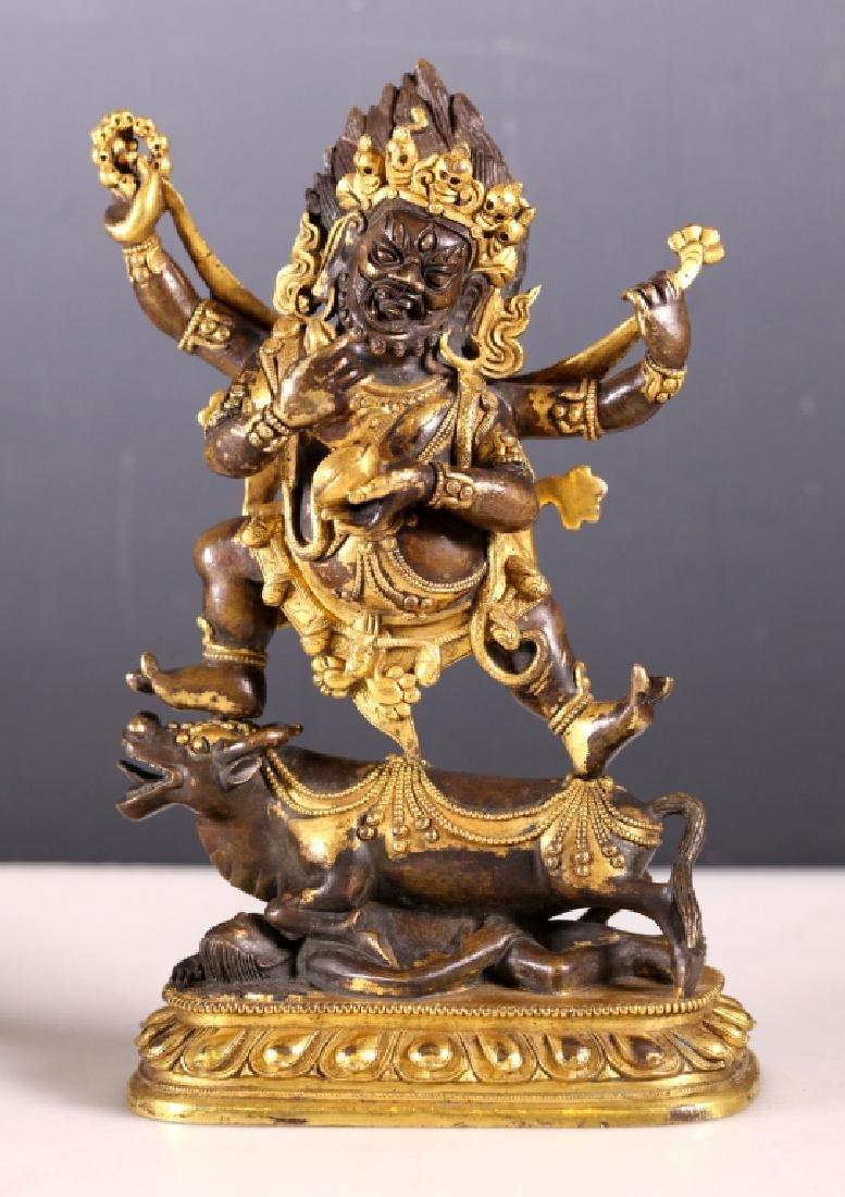 Fine 18 C Tibetan Mahakala Bronze Partially Gilt