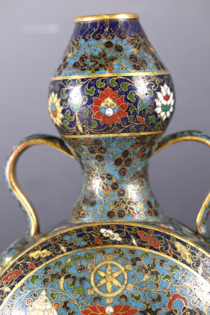 Rare Chinese Cloisonne Moon Flask; Jingtai Mark - 4
