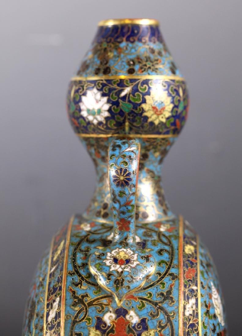 Rare Chinese Cloisonne Moon Flask; Jingtai Mark - 7