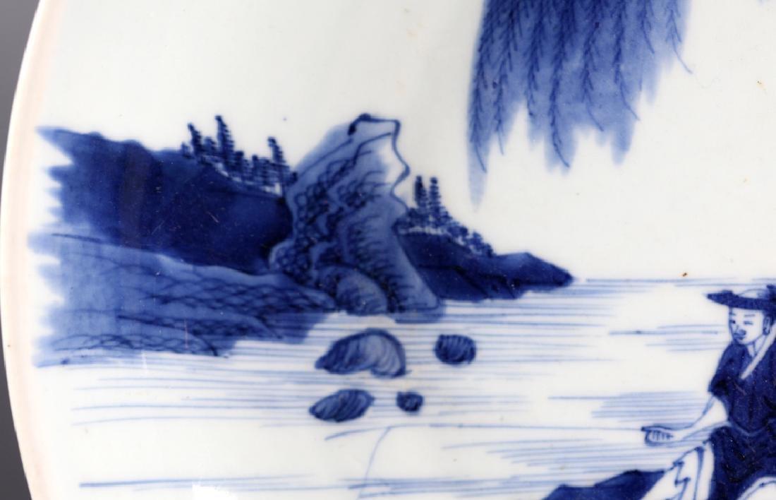 "Chinese 19 C B & W ""Fishermen"" Porcelain Plate, - 3"