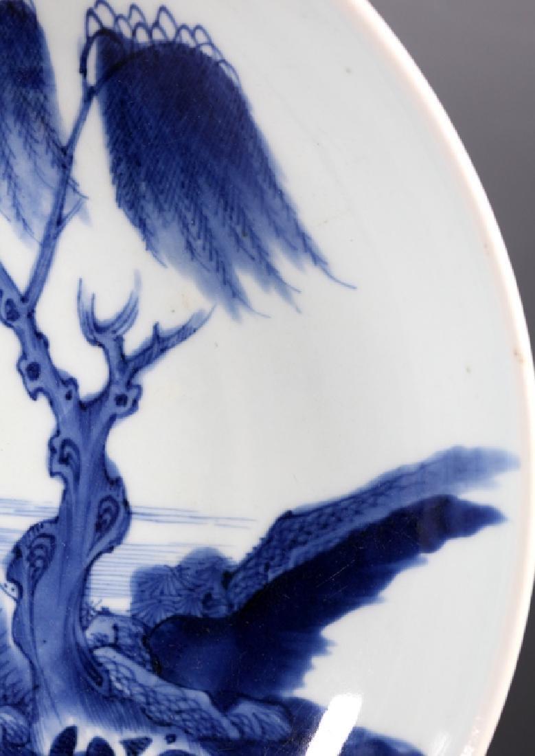 "Chinese 19 C B & W ""Fishermen"" Porcelain Plate, - 5"