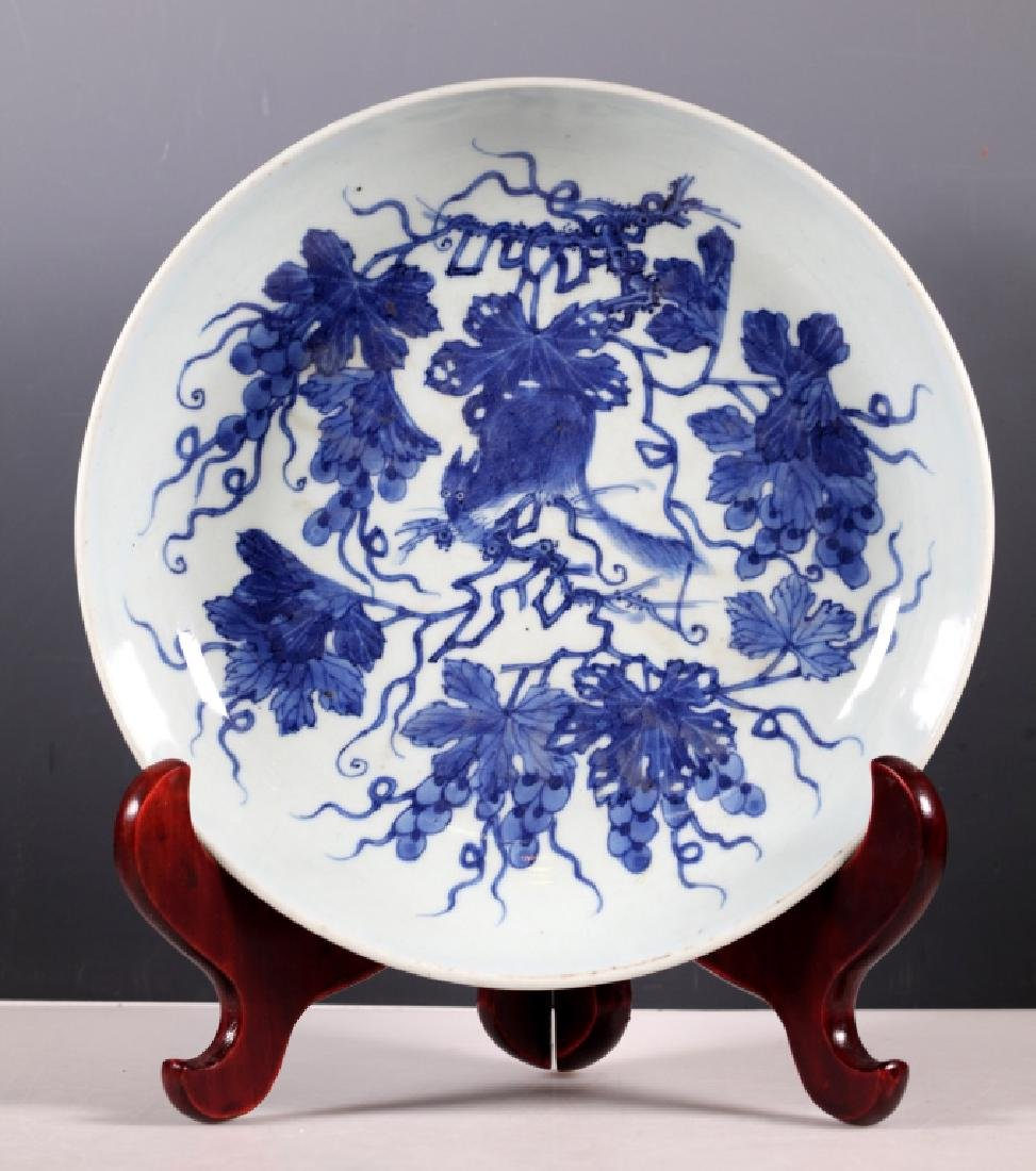 Chinese B & W Squirrel/Grapes Porcelain Plate